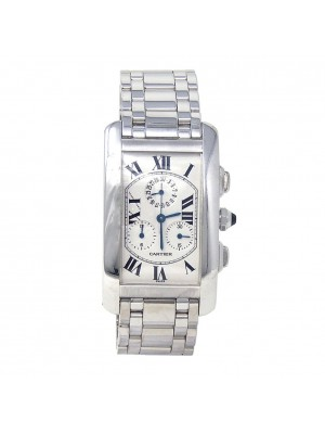 Cartier Tank Americaine 18K White Gold Swiss Quartz Men's Watch 2312