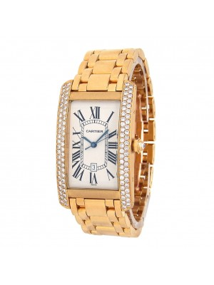 Cartier Tank Americaine 18k Rose Gold Diamond Bezel Automatic Men's Watch 2340