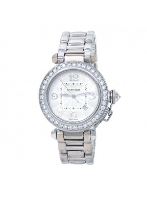 Cartier Pasha 18k White Gold Diamonds Automatic Silver Ladies Watch 2398