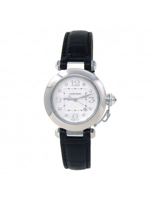 Cartier Pasha 18k White Gold Leather Diamonds Automatic Silver Ladies Watch 2398