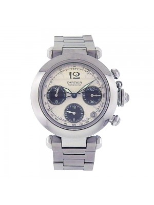 Cartier Pasha Stainless Steel Silver Dial Automatic Chronograph Men's Watch 2412