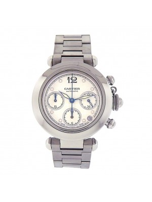 Men's Cartier Pasha Model 2412 35mm Stainless Steel Automatic Chronograph Watch