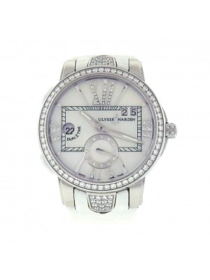 Ulysse Nardin Executive Dual Time Lady Watch Steel and Diamonds Automatic Watch
