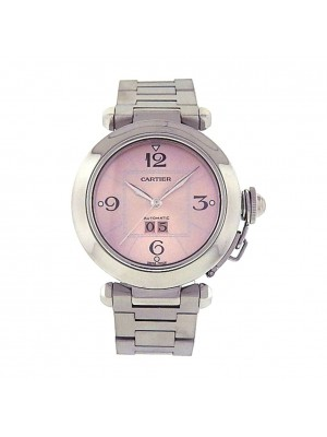 Cartier Pasha Stainless Steel PInk Dial Swiss Automatic Ladies Watch 2475