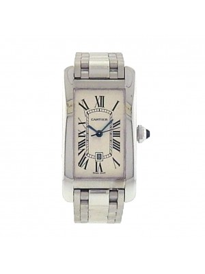 Cartier Tank Americaine 2490 18k White Gold Automatic Silver Ladies Watch