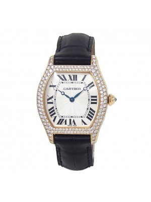 Cartier Tortue 18k Yellow Gold Manual Wind Diamond Bezel Ladies Watch 2496
