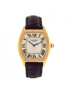 Cartier Tortue 2496C 18k Yellow Gold Black Leather Manual Silver Men's Watch