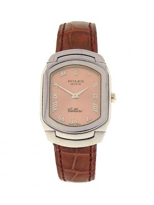 Rolex Cellini 6631.9 18k White Gold Brown Leather Quartz Pink Roman Ladies Watch