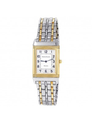 Jaeger-LeCoultre Reverso Classique 18k Yellow Gold Steel Silver Watch 250.5.86