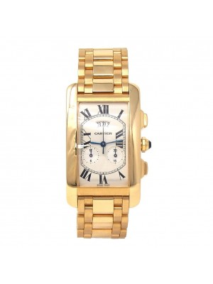 Cartier Tank Americaine 18k Yellow Gold Roman Dial Swiss Quartz Men's Watch 2568