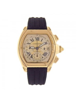 Cartier Roadster XL Chronograph 18K Yellow Gold Automatic Chrono Mens Watch 2619