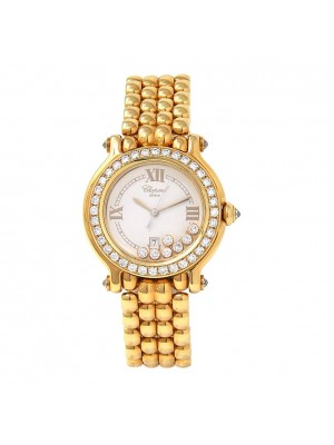 Chopard Happy Sport 18k Yellow Gold Swiss Quartz Diamond Ladies Watch 2761372011