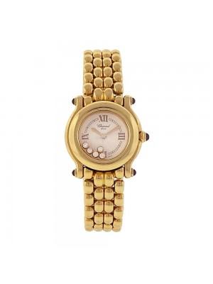 Chopard Happy Sport 18K Yellow Gold Floating Diamonds Quartz Watch 27/6150-21