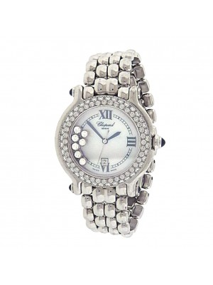 Chopard Happy Sport 276145-23 18k White Gold Quartz Diamonds Mother of Pearl Ladies Watch