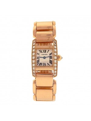 Cartier Tankissime 2801 18k Rose Gold Quartz Diamonds Bezel Silver Ladies Watch