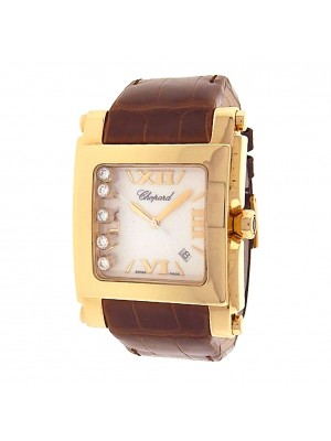 Chopard Happy Sport Square XL 283570-001 Yellow Gold Quartz Diamonds Men's Watch