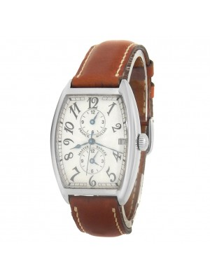 Franck Muller Master Banker 18k White Gold Leather Silver Men's Watch 2852 MB