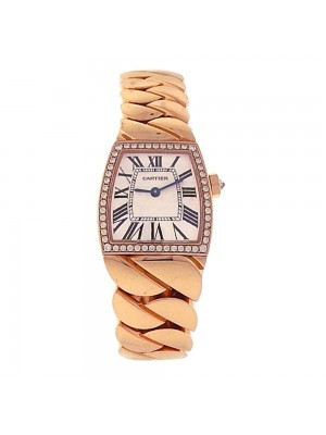 Cartier La Dona 18K Rose Gold Diamond Bezel Roman Numerals Quartz Watch 2904