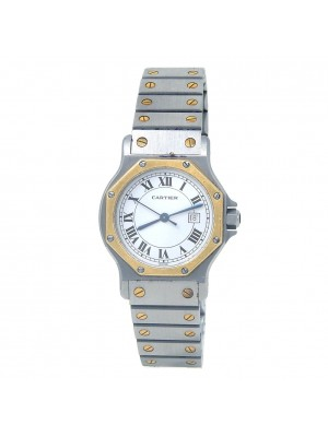 Cartier Santos Octagon 18k Yellow Gold & Stainless Steel Watch Automatic 2966