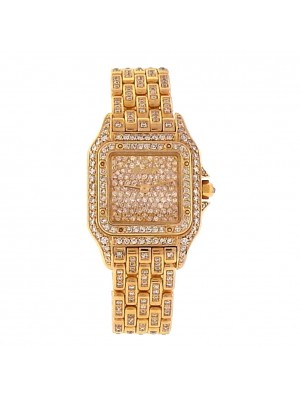Cartier Panthere 31130 18k Yellow Gold Quartz Diamonds Pave Ladies Watch