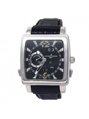 Ulysse Nardin Quadrato Dual Time Perpetual Automatic Black Men's Watch 320-90/92