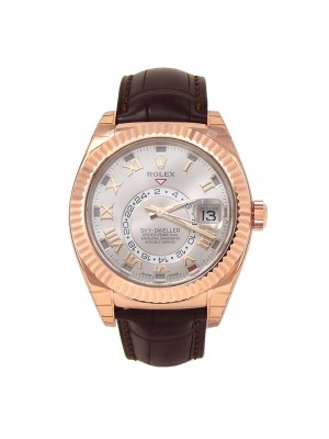 Rolex Sky-Dweller 18k Rose Gold Fluted Bezel Automatic Men's Watch 326135