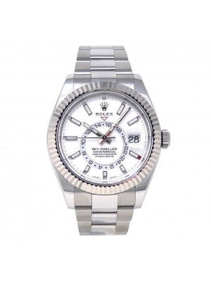 Rolex Sky-Dweller Stainless Steel Fluted Bezel Automatic Men's Watch 326934