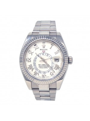 Rolex Sky-Dweller Fluted Bezel 18k White Gold Automatic Men's Watch 326939