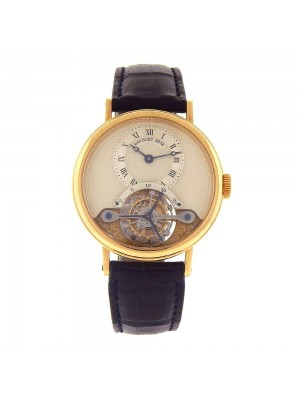 Breguet Tourbillon 18k Yellow Gold Manual Wind Skeleton Mens Watch 3357BA/12/986
