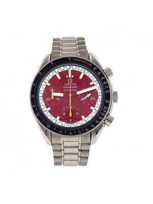 Men Omega Speedmaster Stainless Steel Red Dial Automatic Chronograph Sport Watch