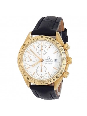 Omega Speedmaster 18k Yellow Gold Leather Automatic White Men's Watch 3611.20.02