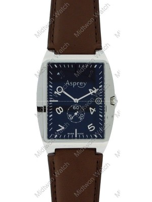 Asprey Black Dial Leather Strap Rectangle S/S Case Automatic Swiss Men's Watch
