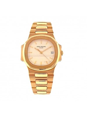 Men 18k Solid YG Patek Philippe Nautilus 3800 / 1 Automatic Bracelet Dress Watch