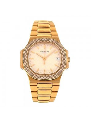 Patek Philippe Nautilus 18K Yellow Gold Diamond Bezel Automatic Men's Watch 3800