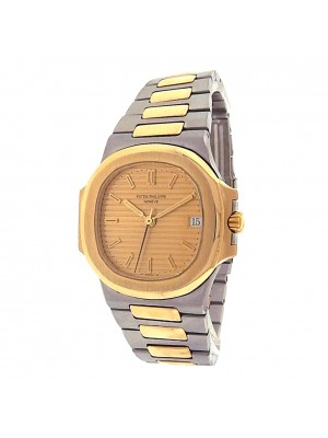 Patek Philippe Nautilus 3800 Steel 18k Yellow Gold Automatic Champagne Men Watch