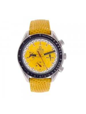 Omega Speedmaster Stainless Steel Yellow Lizard Band Automatic Watch 3810.12.40