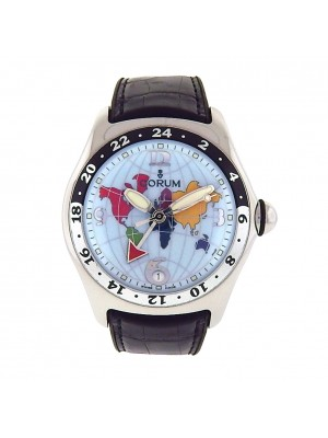 Men's Stainless Steel Corum Bubble World Timer GMT Automatic Skeleton Back Watch