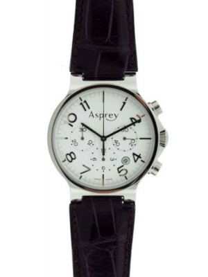 Asprey Purple Leather Strap Chronograph S/S White Dial Automatic Swiss Watch