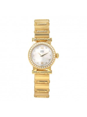 Movado Vizio 18k Yellow Gold Diamond Bezel Swiss Quartz Ladies Watch 41/40 36828