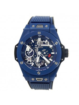 Hublot Big Bang MECA-10 Ceramic Rubber Blue Skeleton Men's Watch 414.EX.5123.RX
