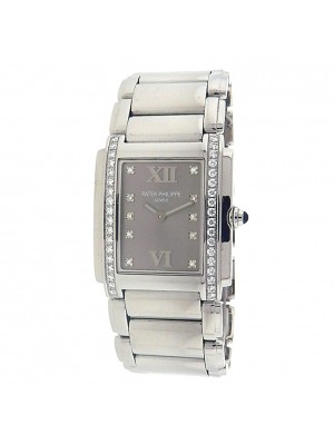 Patek Philippe Twenty-4 4910/10A-010 Steel Quartz Diamonds Grey Ladies Watch
