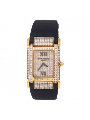 Patek Philippe Twenty-4 18k Rose Gold with Diamonds Quartz Ladies Watch 4910R
