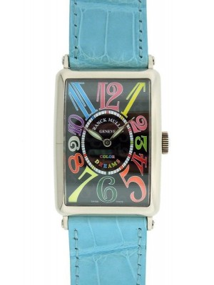 Franck Muller Color Dreams 1200 SC 18K White Gold Black Dial Blue Leather Watch