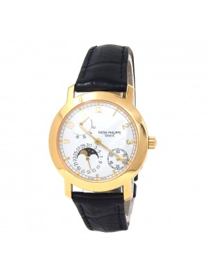 Patek Philippe Complication Moon Phase Power Reserve 18k Yellow Gold Watch 5055J
