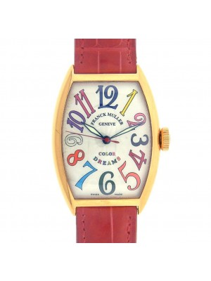 Franck Muller Color Dreams 5850SC 18k Rose Gold Red Leather Silver Watch