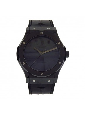 Hublot Ceramic Classic Fusion Black Berluti Venezia Leather Auto Dress Watch