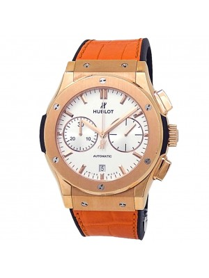 Hublot Classic Fusion 18k King Gold Leather Auto Silver Watch 521.OX.2611.LR