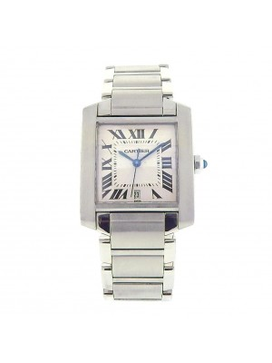 Cartier Tank Francaise W51002Q3 Stainless Steel Automatic White Men's Watch