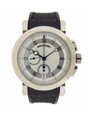 Breguet Marine Chronograph 5827bb/12/5zu White Gold Mens Rubber Silver Watch