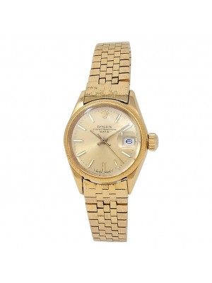 Rolex Vintage Date 18k Yellow Gold Automatic Champagne Ladies Watch 6521